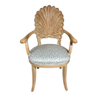 Shell Back Chair in Leopard Fabric For Sale