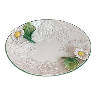 Vintage Italian Faience Majolica Daisy Floral Oval Small Dish Platter Trinket For Sale
