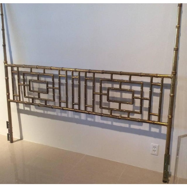 Vintage Faux Bamboo Chinese Chippendale King-Size Headboard For Sale - Image 9 of 11