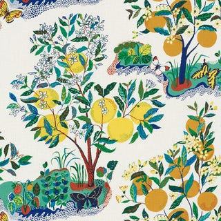 Schumacher Citrus Garden Indoor/Outdoor Fabric in Primary For Sale