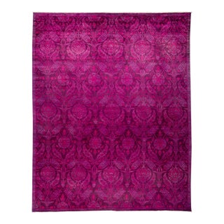 New Hand-Knotted Overdyed Magenta Rug - 8′10″ × 11′1″