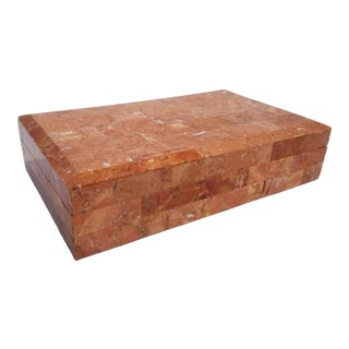 1980s Art Deco Maitland - Smith Pink Tessellated Stone Box For Sale