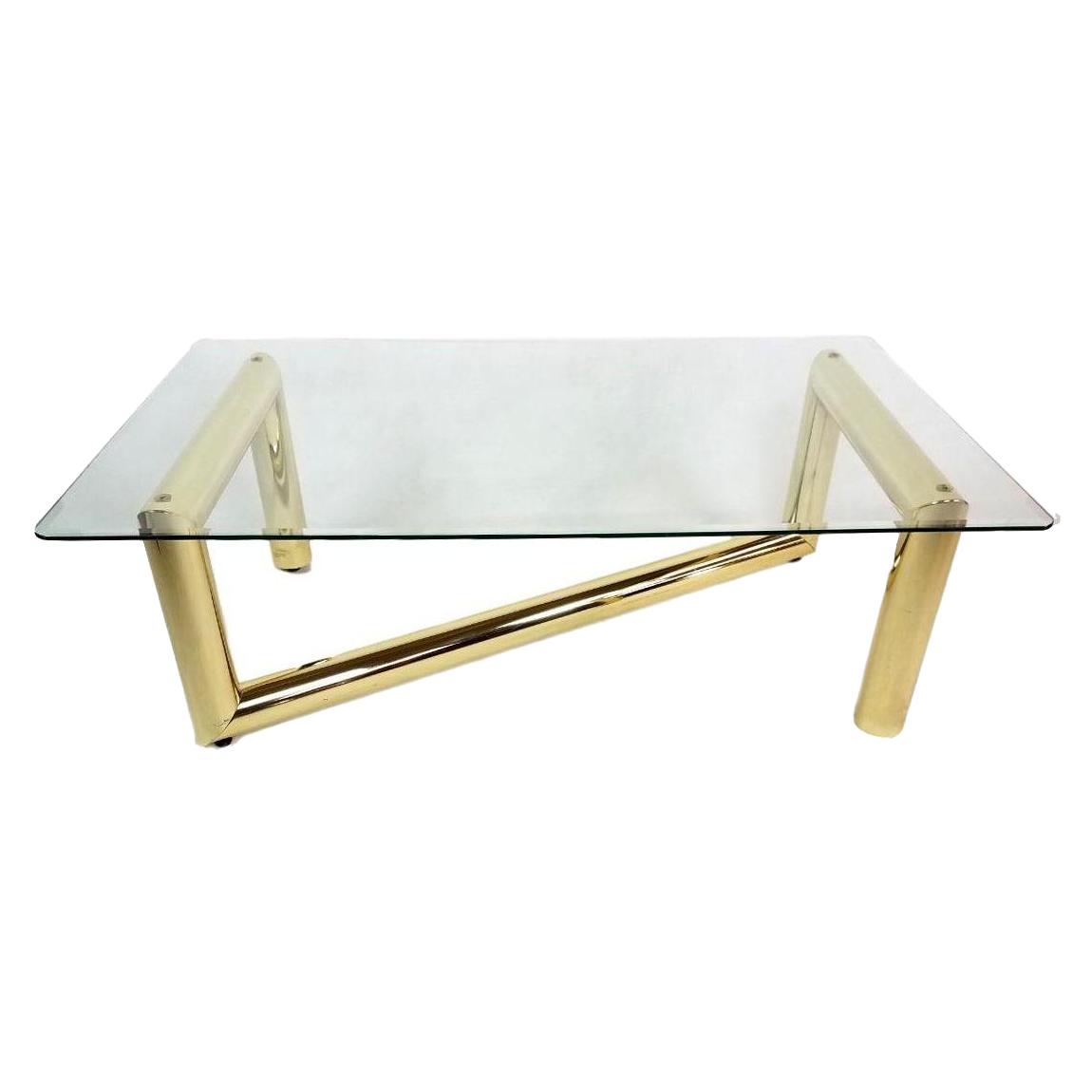 Karl Springer Tubular Brass Z Shaped Coffee Table
