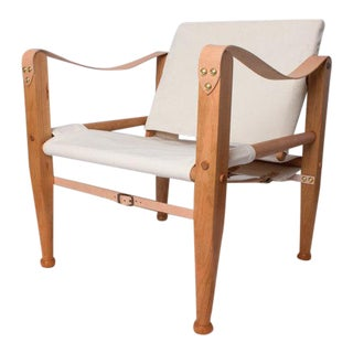 Bespoke White Leather Safari Lounge Chair