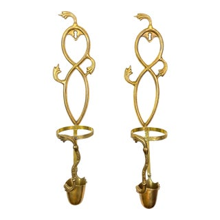 Brass Wall Sconces Candle Holders For Sale