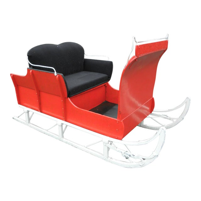Equestrian Antique Restored Red Holiday Sleigh Sled - Image 1 of 11