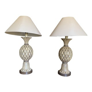 Beige and Brown Carved Wooden Table Lamps - a Pair For Sale