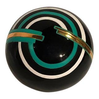 1980s Art Deco Revival Ceramic Orb