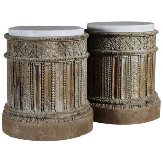 Pair of 18th Century English Table Pedestals with Marble Tops For Sale