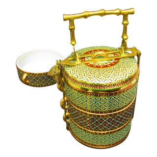 Ceramic Benjarong Hand-Painted Tiffin Set For Sale