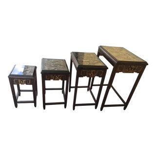 Vintage Asian Hand-Carved Nesting Tables - Set of 4