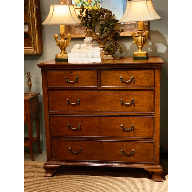 19th Century English Walnut Five Drawer Chest For Sale - Image 11 of 12