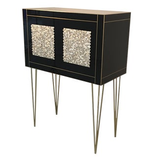 Handmade Mirrored Bar Cabinet on Stand in Murano Glass and Brass Inlay For Sale