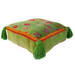 Moroccan Green Vintage Rug Wool Pouf For Sale