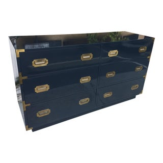 Dixie Campaign Style Navy Blue Double Dresser