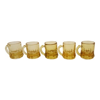 Set Of 5 Federal Amber Shot Glasses For Sale