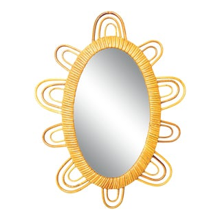 1960s French Rattan Oval Flower Mirror For Sale