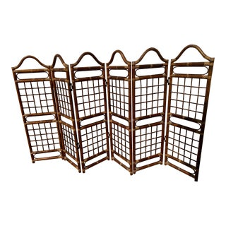 1970s Room Dividers With Bamboo and Rattan Six-Panel Screen. For Sale