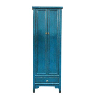 Dark Blue Asian Elm Cabinet For Sale