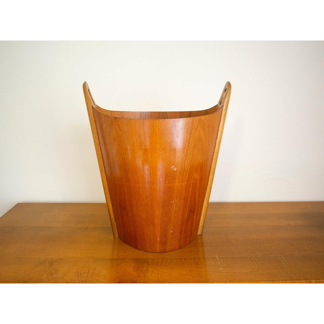 Mid-Century Modern 1960s Vintage P.S. Heggen Norway Teak Wastebasket For Sale - Image 3 of 11