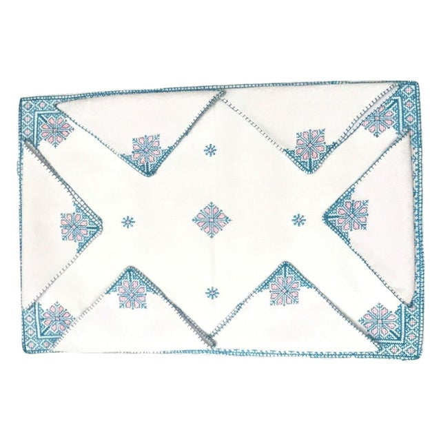Our colorful and exotic Fez Tray Napkins are hand-embroidered in Fez by local female artisans who employ a design...