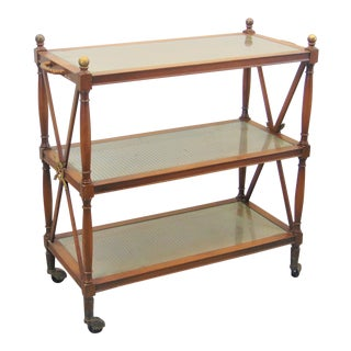 Directoire 3 Tier Fruitwood Serving Cart For Sale
