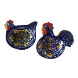 Image of Handcrafted Ceramic Rooster & Hen Bowls - A Pair For Sale
