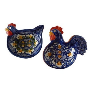 Handcrafted Ceramic Rooster & Hen Bowls - A Pair For Sale