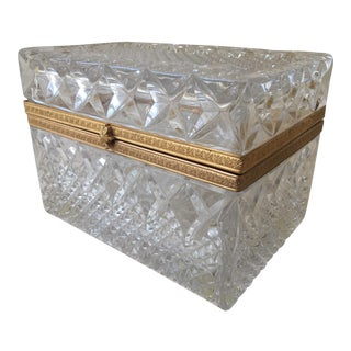 Vintage French Empire Style Cut Glass Dresser Box For Sale