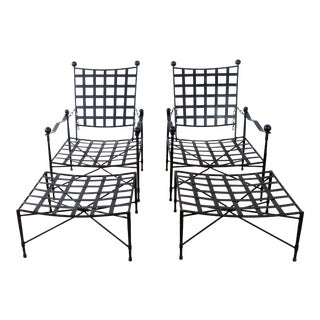 Janus Et Cie Amalfi Collection Powder Coated Epoxy Coated Steel Finish: Corsican Black Lounge Chairs & Ottomans - Set of 4 For Sale