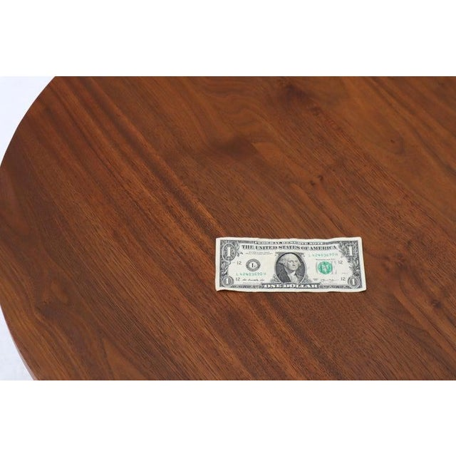 Brown Thick Solid Teak Top Round Coffee Center Table For Sale - Image 8 of 11