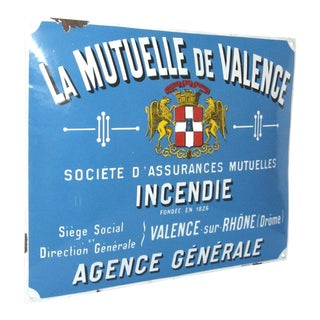 Antique Blue French Enamel Advertising Sign ~ La Mutuelle De Valence With Coat of Arms