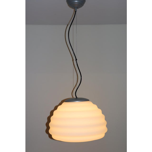 """Murano Pendant Lamp. Hand Blown """"Incamiciato"""" Milky White Glass with satin finish and white interior. Mounting details:..."""