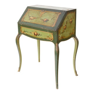 Handpainted Antique Secretary Desk in Green For Sale