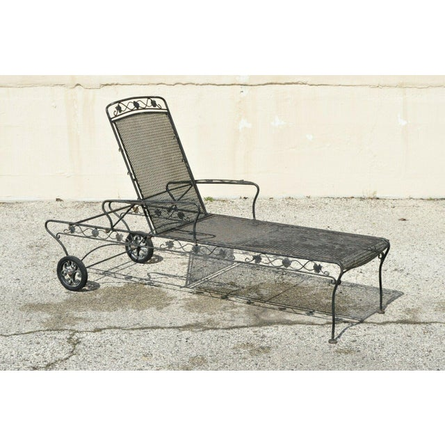 Traditional Vintage Mid Century Russell Woodard Patio Garden Reclining Wrought Iron Chairs- a Pair For Sale - Image 3 of 13