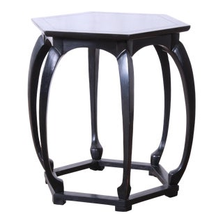 Baker Furniture Hollywood Regency Chinoiserie Ebonized Occasional Table For Sale