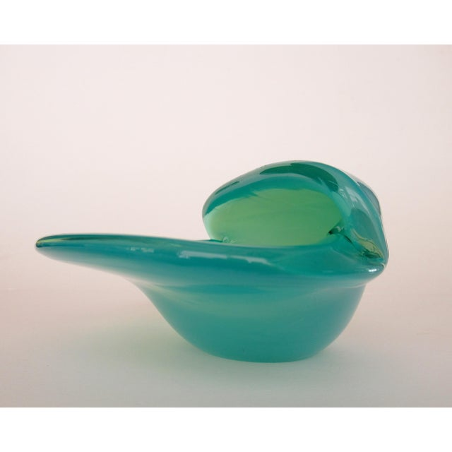 C. 1960's Mid-Century Italian Hand-Blown Murano Seafoam Green & Sky Blue Clamshell Bowl by Alfredo Barbini For Sale In Rochester - Image 6 of 13