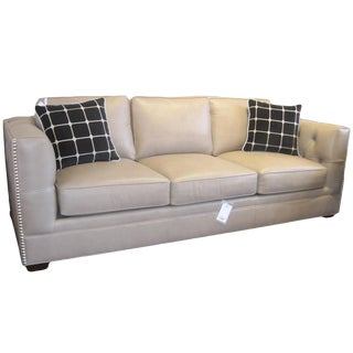 21st Century Leather Contemporary Sofa For Sale