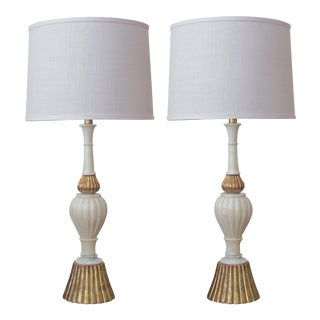 A Shapely Pair of Italian 1960's Baluster-Form Carrara Marble Lamps With Gilt-Wood Mounts For Sale