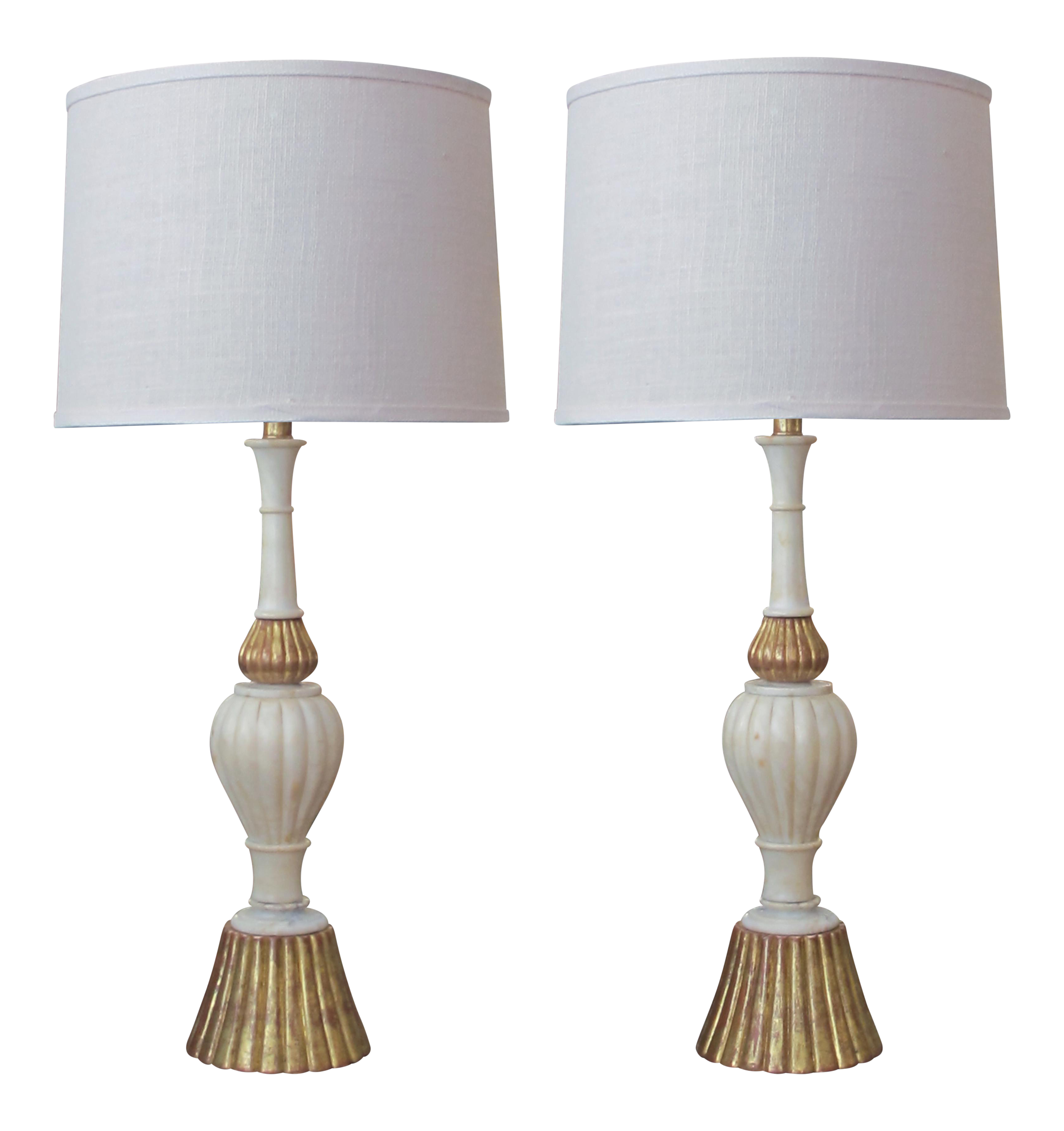A Shapely Pair Of Italian 1960u0027s Baluster Form Carrara Marble Lamps With  Gilt Wood