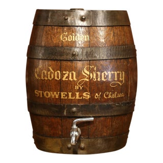 Early 20th Century English Wood Carved Cream Sherry Barrel With Spout For Sale