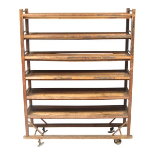 Antique Industrial Cobbler Shoe Factory Rolling Rack Shelves For Sale
