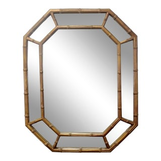 Gold Octagonal Faux Bamboo Hollywood Regency Mirror