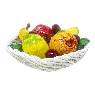 Vintage Italian Woven Fruit Basket For Sale