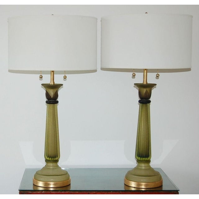 The Marbro Lamp Company Marbro Murano Glass Table Lamps Green For Sale - Image 4 of 10