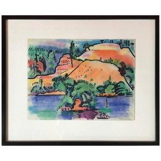 Pastel Landscape by Erle Loran #2 For Sale