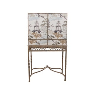 1980s Chinoiserie Drexel Bar Cabinet For Sale