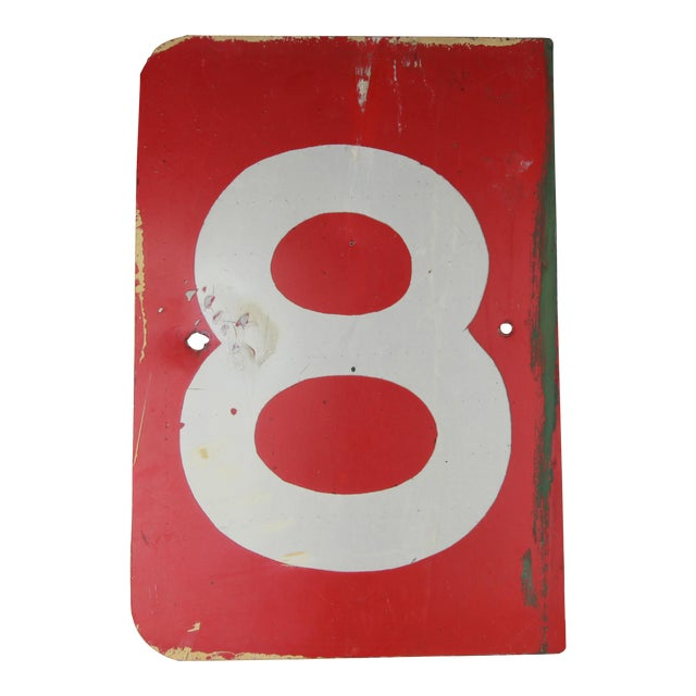 Vintage Number 8 Red Metal Sign From Airplane Hanger For Sale