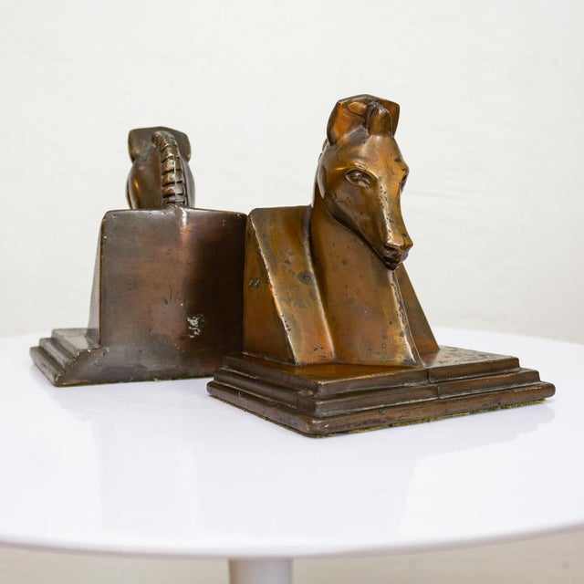 Copper Trojan Horse Bookends | Art Deco Copper Plated For Sale - Image 7 of 10