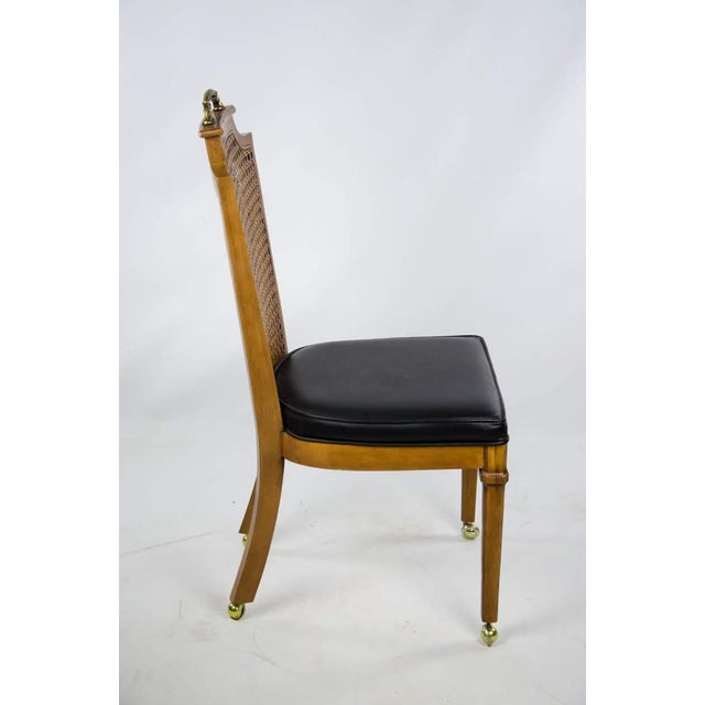 Late 19th Century Late 19th Century French Regency Style Caned Back and Vinyl Dining Chairs - Set of 4 For Sale - Image 5 of 13